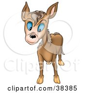 Clipart Illustration Of A Curious Brown Burro With Blue Eyes