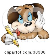 Happy Dog Resting His Cheek In His Hand And Coloring With A Yellow Colored Pencil