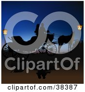 Clipart Illustration Of A Couple In A Horse Drawn Carriage Silhouetted Between Lanterns Against The Blue Of Night