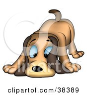 Clipart Illustration Of A Blue Eyed Hound Dog Sniffing The Ground by dero #COLLC38389-0053