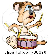 Clipart Illustration Of A Drummer Dog Playing A Drum by dero