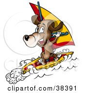 Clipart Illustration Of A Sporty Dog Windsurfing On Waves by dero