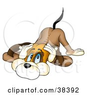 Clipart Illustration Of A Scared Dog Cowering And Covering His Ears by dero #COLLC38392-0053