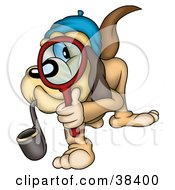 Clipart Illustration Of A Detective Dog Smoking A Pipe And Peering Through A Magnifying Glass