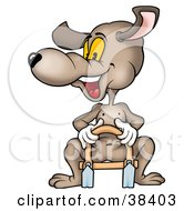 Clipart Illustration Of A Happy Dog Sitting On A Sled
