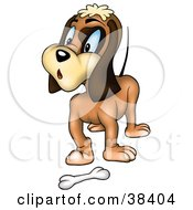 Clipart Illustration Of A Surprised Brown Dog Standing In Front Of A Bone