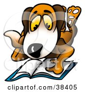 Clipart Illustration Of A Dog Resting On His Belly And Reading A Book by dero