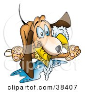 Clipart Illustration Of A Goofy Dog Biting A Soapy Sponge