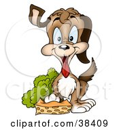 Clipart Illustration Of A Happy Brown Dog Resting A Paw On A Sponge by dero