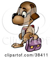 Clipart Illustration Of A Dog Student Wearing Glasses And Walking With A Bag And School Book by dero