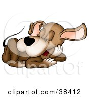 Clipart Illustration Of A Cute Brown Dog Sound Asleep On The Floor by dero