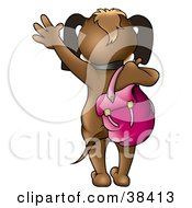 Clipart Illustration Of A School Dog Waving Good By A Backpack Draped Over Its Shoulder by dero
