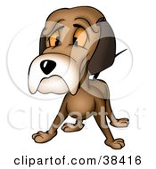 Clipart Illustration Of A Sad Brown Dog Giving The Puppy Face by dero