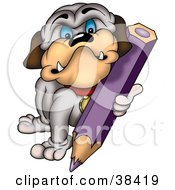 Clipart Illustration Of A Bulldog Coloring With A Purple Colored Pencil by dero