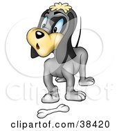Clipart Illustration Of A Surprised Gray Dog Standing In Front Of A Bone