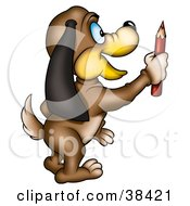Clipart Illustration Of A Dog With Long Ears Standing And Holding A Red Colored Pencil by dero