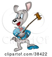 Clipart Illustration Of A Camping Dog Roasting A Weenie On A Stick by dero