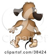 Clipart Illustration Of A Brown Dog Walking Away