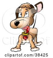 Clipart Illustration Of An Excited Brown Dog With A Heart Collar Wagging His Tail by dero