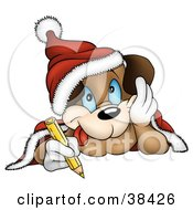 Clipart Illustration Of A Dog In A Santa Hat Coloring With A Yellow Colored Pencil by dero