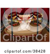 Clipart Illustration Of An Audience Of People Waiting For A Circus Show To Start The Spotlight Shining Down by dero