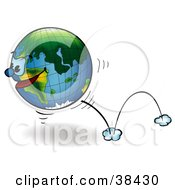 Clipart Illustration Of A Determined Earth With A Face Bouncing By by dero