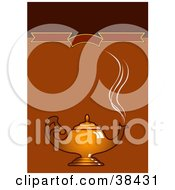 Clipart Illustration Of Steam Rising From A Golden Coffee Pot Or Genie Lamp Over A Brown Background With A Blank Banner
