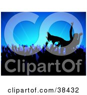 Clipart Illustration Of A Silhouetted Crowd Surfer Being Passed By Hands At A Concert Over A Blue Bursting Background by dero #COLLC38432-0053