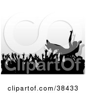 Clipart Illustration Of A Concert Crowd Of Silhouetted Hands Passing A Crowd Surfer by dero #COLLC38433-0053