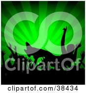 Clipart Illustration Of A Crowd Of Silhouetted Hands Passing A Crowd Surfer At A Concert Over A Green Bursting Background