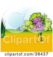 Clipart Illustration Of A Nature Background Of Purple Bell Flowers By Grasses And Bushes