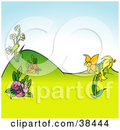 Clipart Illustration Of A Nature Background Of Yellow Purple Red And White Flowers In A Hilly Landscape