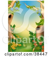 Clipart Illustration Of Flowering Vines With Blue Yellow And Red Flowers Climbing Two Trees In A Chinese Forest by dero