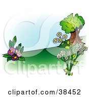 Clipart Illustration Of A Nature Background Of Pink And White Flowers Near A Tree On A Hillside
