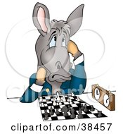 Gray Donkey In A Jacket Thinking Of His Next Move During A Chess Game