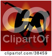 Clipart Illustration Of A Sexy Black Silhouetted Couple Engaged In A Samba Dance by dero