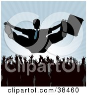 Clipart Illustration Of A Silhouetted Corporate Businessman Holding Onto His Briefcase While Being Tossed Into The Air By Employees by dero