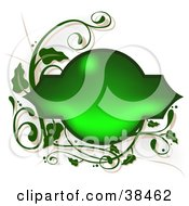 Clipart Illustration Of A Shiny Blank Green Text Box Framed In Green Vines On A White Background by dero
