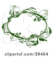 Clipart Illustration Of A Blank Oval Text Box Framed In Green Vines On A White Background