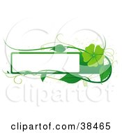 Clipart Illustration Of A Blank White Text Box Bordered In Green With Tendrils Leaves And A Green Flower by dero