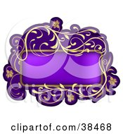 Clipart Illustration Of A Gradient Purple Text Box Framed In Golden Curly Vines And Flowers by dero