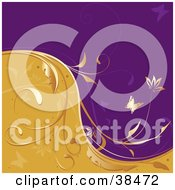 Clipart Illustration Of A Golden Vine Dividing Waves Of Purple And Orange With Butterflies And Flowers