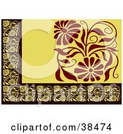 Clipart Illustration Of A Yellow Black And Brown Floral Border by dero