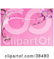 Clipart Illustration Of Purple Flowers Growing On Waves Over A Pink Background