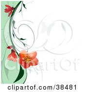 Clipart Illustration Of A Butterfly Silhouette On A White Background With A Flowering Plant Bordering A Wave Of Green by dero