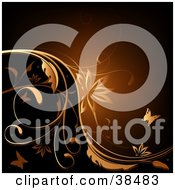 Clipart Illustration Of A Background Of Brown And Black With Butterflies Flowers And Vines by dero