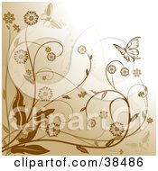 Brown Background With Flowering Plants And Two Butterflies