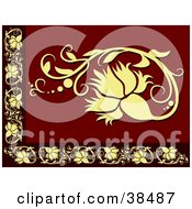 Clipart Illustration Of A Yellow And Red Floral Border by dero