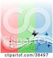 Vertical Striped Red Green And Blue Background With A Vine And Butterflies Spanning The Bottom