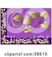 Clipart Illustration Of A Golden And Purple Floral Border by dero